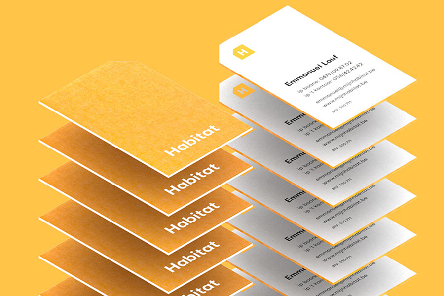 Stack of vertical card with simple yellow and white color