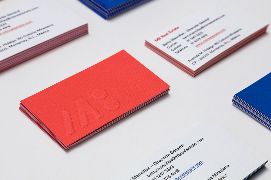 Embossed logo on bold colored business card back