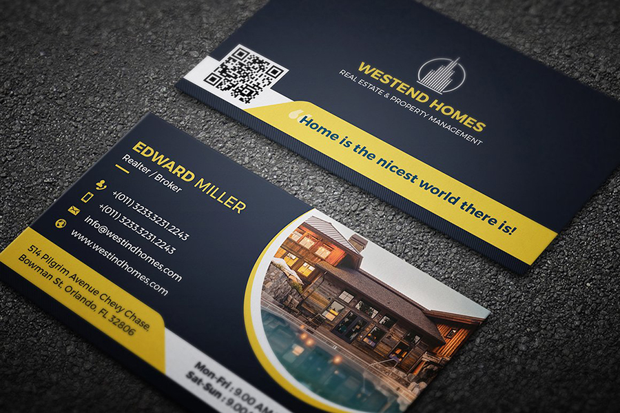Real estate business card with property photos and QR Codes