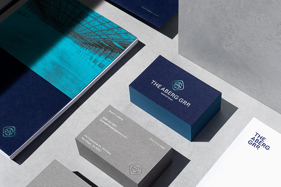 Simple blue and grey business card design for industrial real estate group